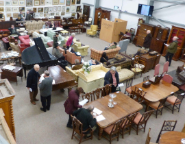 Viewing antiques at Taylors Auction Rooms